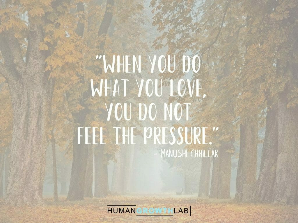 """Manushi Chhillar quote on doing what you love - """"When you do what you love, you do not feel the pressure."""""""