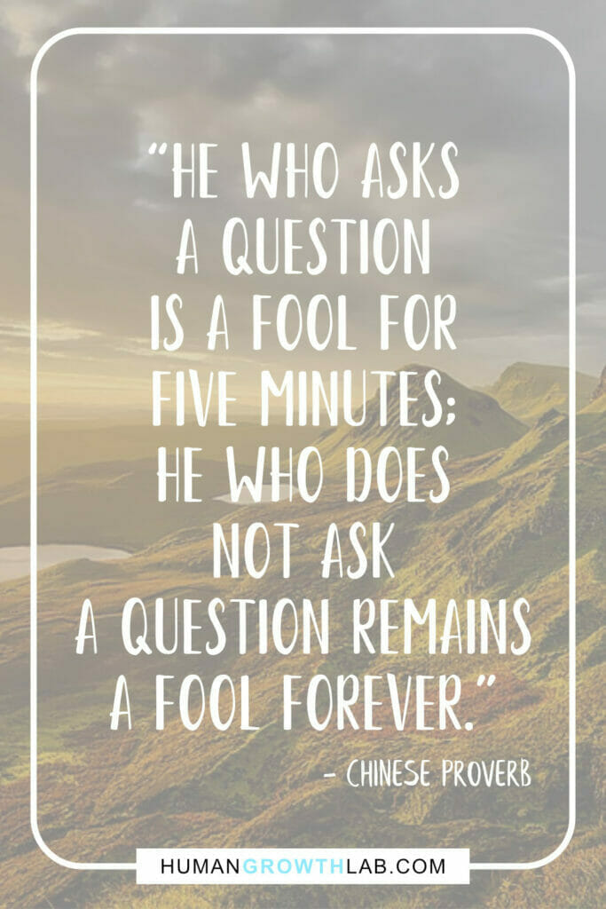 """Chinese proverb about success - """"He who asks a question is a fool for five minutes; he who does not ask a question remains a fool forever."""""""