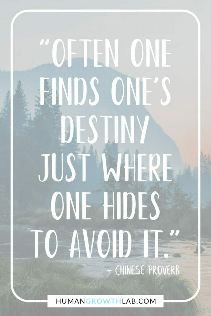 """Chinese proverb on success - """"Often one finds one's destiny just where one hides to avoid it."""""""