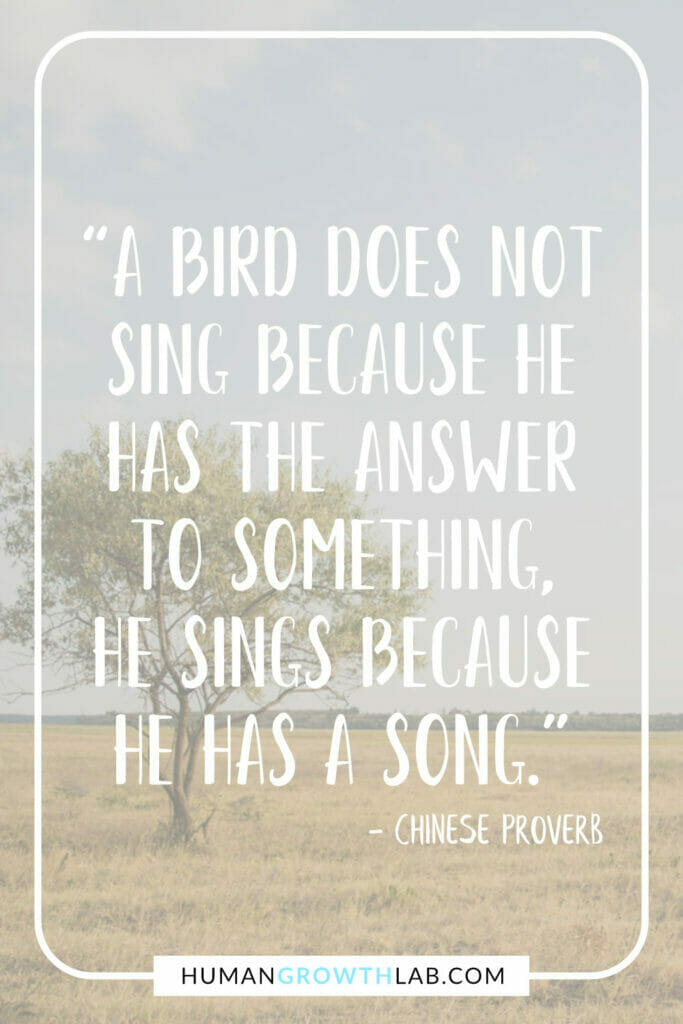 """Chinese saying about success - """"A bird does not sing because he has the answer to something, he sings because he has a song."""""""