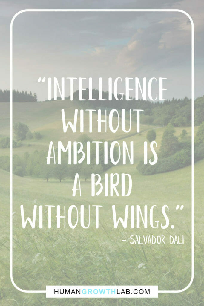 """Salvador Dali quote on my ambition in life - """"Intelligence without ambition is a bird without wings."""""""