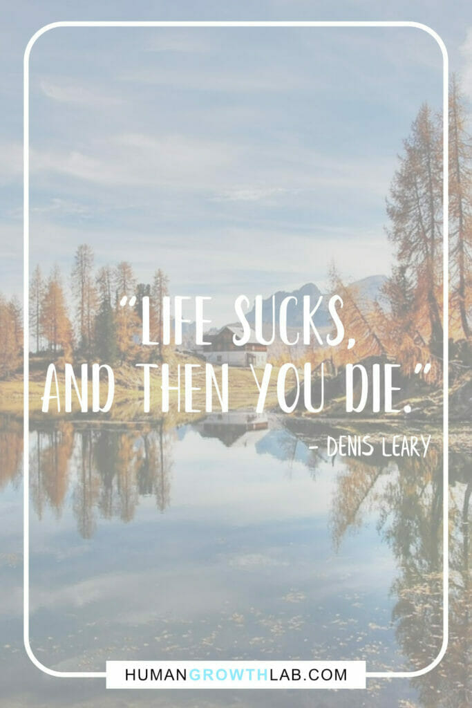 """Denis Leary life sucks quote - """"Life sucks, and then you die."""""""