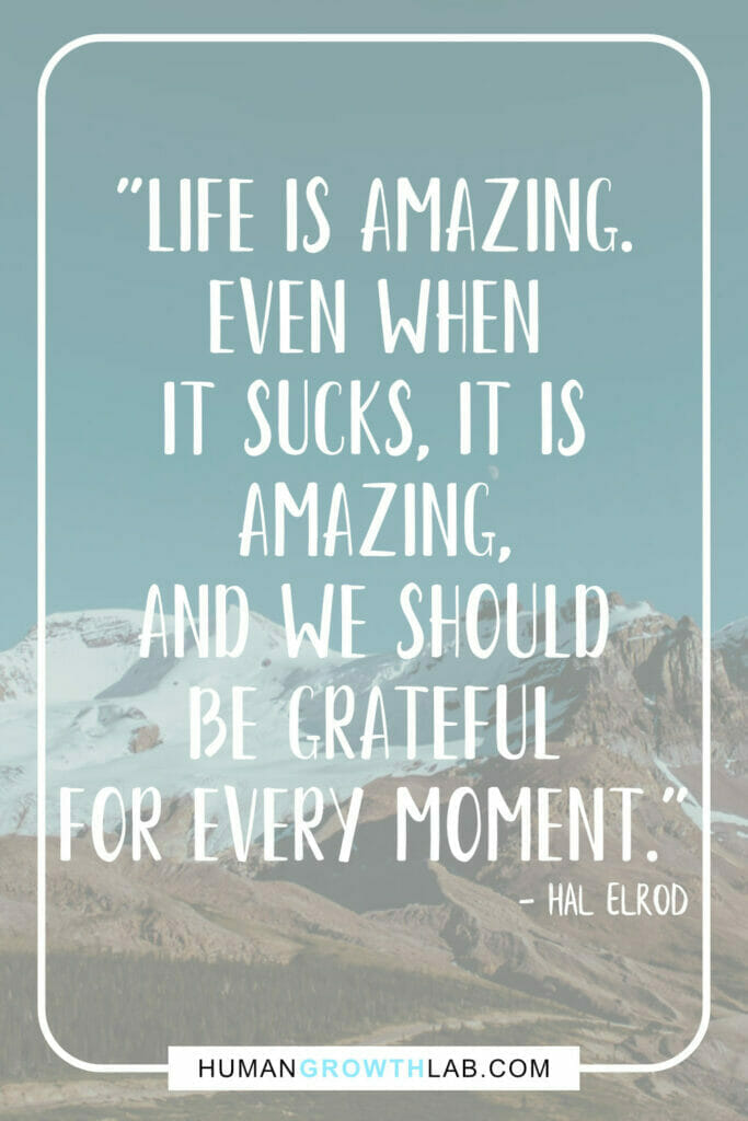 """Hal Elrod life sucks quote - """"Life is amazing. Even when it sucks, it is amazing, and we should be grateful for every moment."""""""