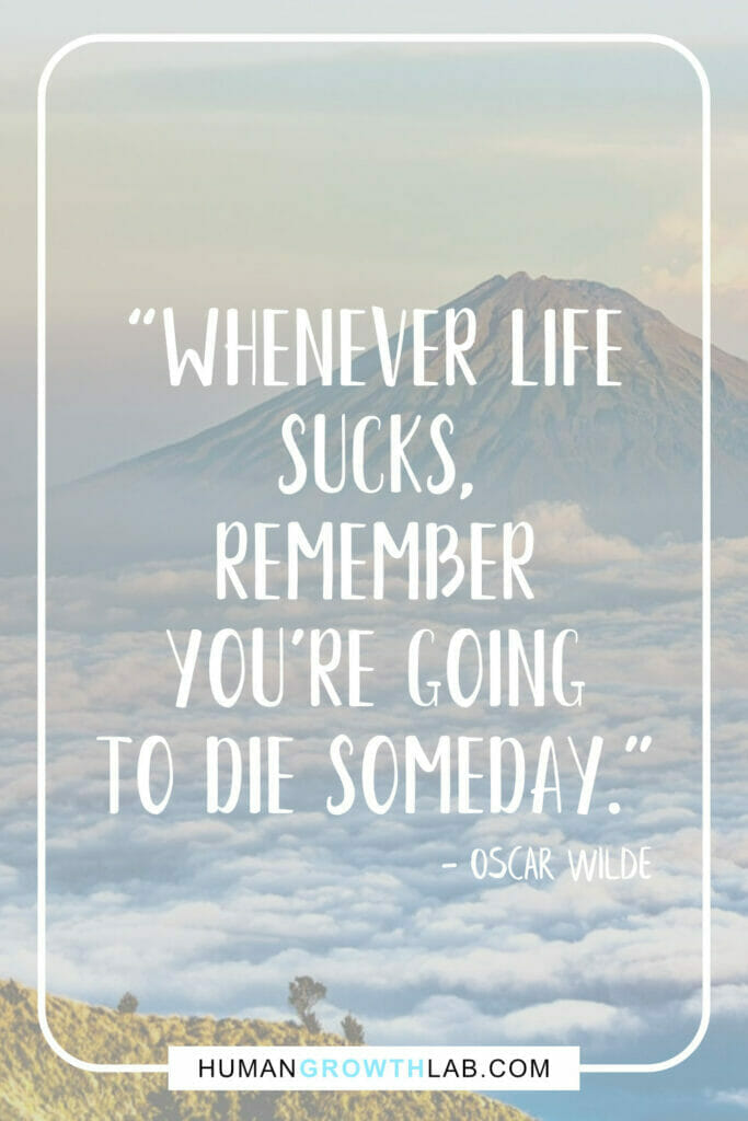 """Oscar Wilde life sucks quote - """"Whenever life sucks, remember you're going to die someday."""""""