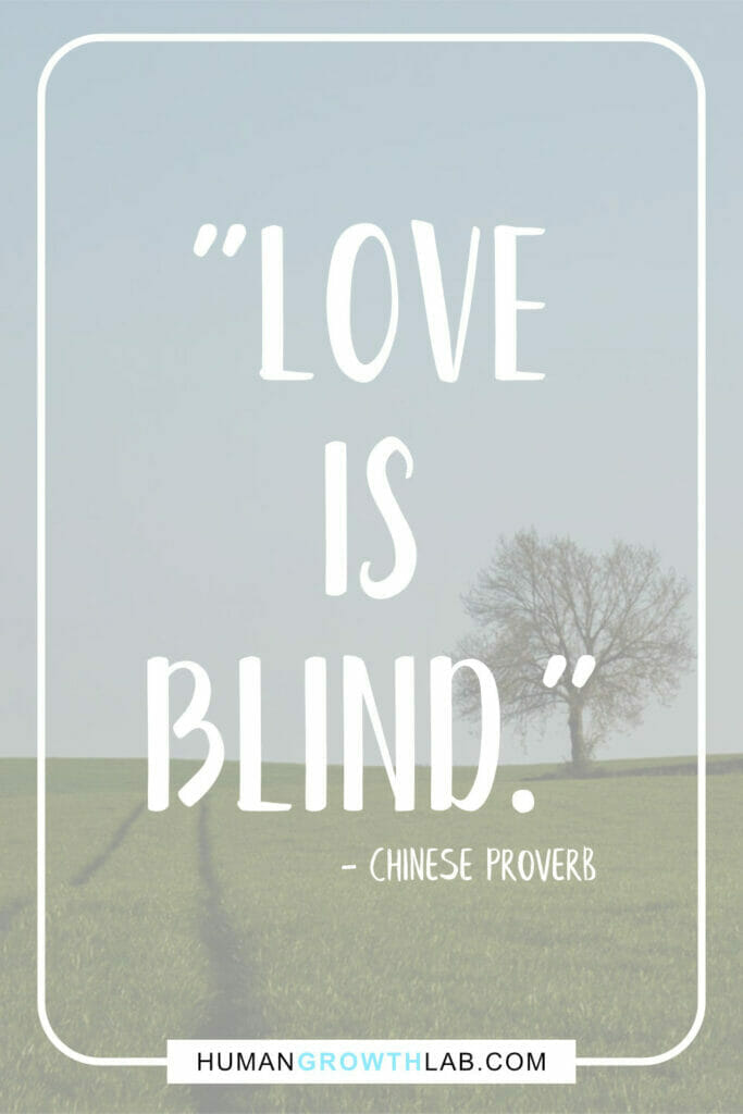 """Chinese proverb about love - """"Love is blind."""""""